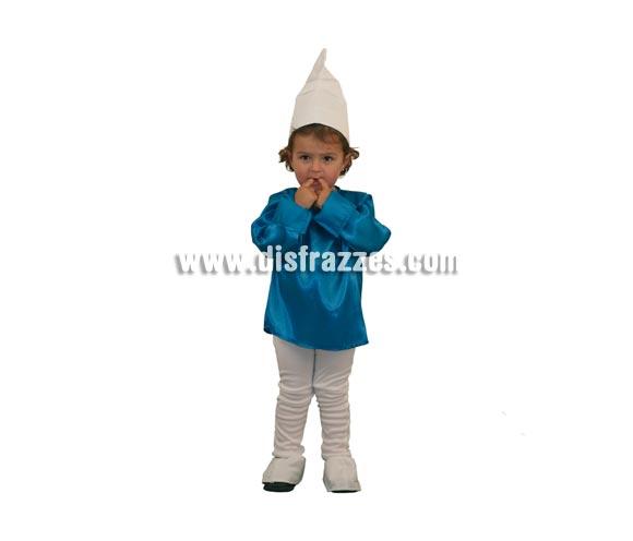 Disfraz de Duende Azul para niños de 3 a 4 años. Incluye gorro, camisa, pantalón y cubrezapatos. Con éste disfraz cualquier niño o niña se lo pasará bomba jugando a ser como Los Pitufos.