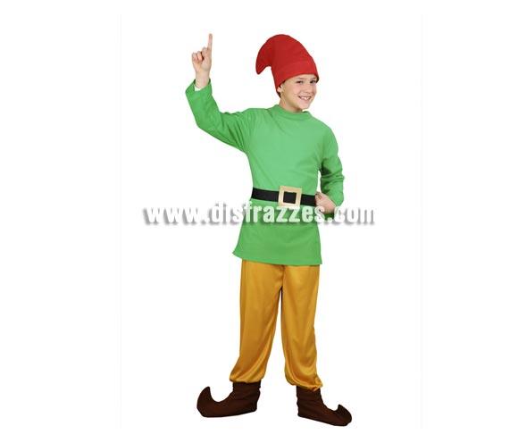 Disfraz de Enanito infantil para Navidad y Carnaval. Talla de 4 a 6 años. Incluye gorro, casaca, cinturón, pantalón y cubrebotas. Un disfraz que también sirve para disfrazar a los niños de Duendes en Navidad.