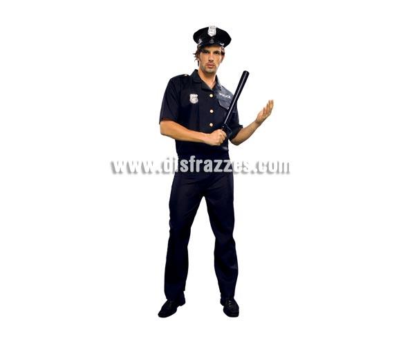Disfraz barato de Policía para hombre. Talla standar ó M-L = 52/54. Incluye gorra, camisa y pantalón.