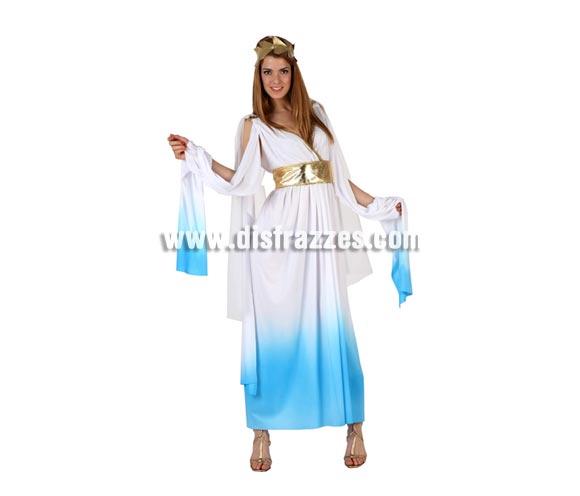 Disfraz de Romana azul para mujer. Talla 2 ó talla standar M-L = 38/42. Incluye túnica y tocado.