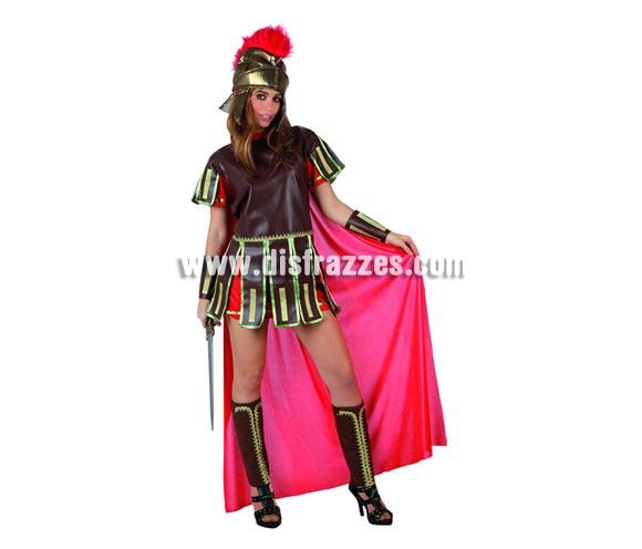 Disfraz de Guerrera Romana Sexy para mujer. Talla 2 ó talla standar M-L = 38/42. Incluye casco, túnica con capa, muñequeras y espinilleras.