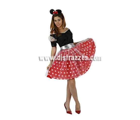 Disfraz de Ratita Minni sexy para mujer. Talla 2 o talla standar M-L = 38/42. Incluye vestido, cinturón y diadema.