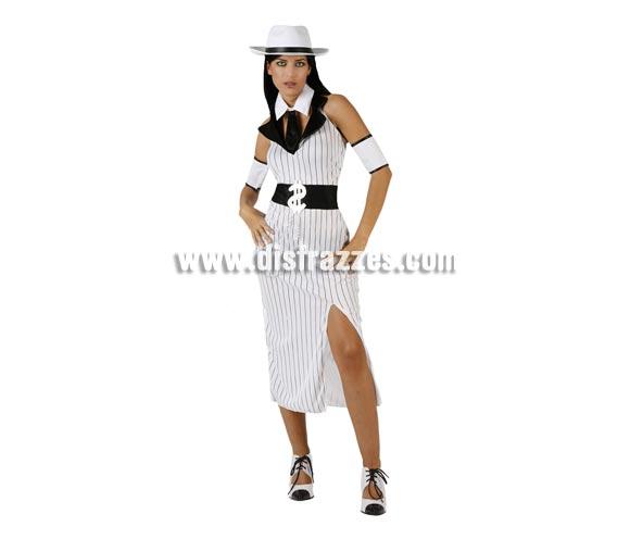 Disfraz de Ganster Mafiosa Blanco para mujer. Talla 2 ó talla standar M-L 38/42. Incluye vestido, cuello con corbata y cubrebrazos. Sombrero NO incluido, podrás encontrar en nuestra sección de Complementos.