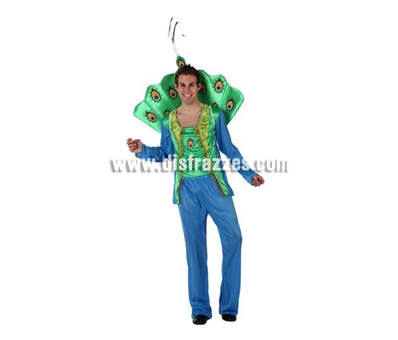Disfraz de Pavo Real para hombre. Talla 2 ó talla standar M-L = 52/54. Incluye disfraz completo.