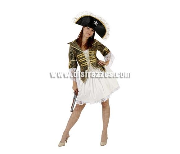 Disfraz de Bucanera lujo para mujer. Talla 2 ó talla Standar M-L 38/42. Incluye falda, chaqueta y gorro. Trabuco NO incluido, podras encontrarlo en nustra sección de Complementos.
