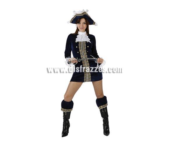 Disfraz de Pirata Azul Sexy para mujer. Talla 2 ó talla Standar M-L = 38/42. Incluye vestido, pañuelo, sombrero y cubrebotas. Espada NO incluida, podrás encontrar en nuestra sección de Complementos. Disfraz de Capitana Pirata para mujer.