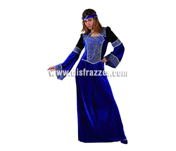 Disfraz de Dama Medieval Azul para mujer. Talla 2 ó talla standar M-L 38/42. Incluye vestido y cinta de la cabeza.