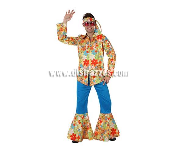 Disfraz barato de Hippie Floreado para hombre. Talla 2 ó talla Standar M-L = 52/54. Incluye pantalón, camisa y cinta de la cabeza. Gafas NO incluidas, podrás encontrar en nuestra sección de Complementos.