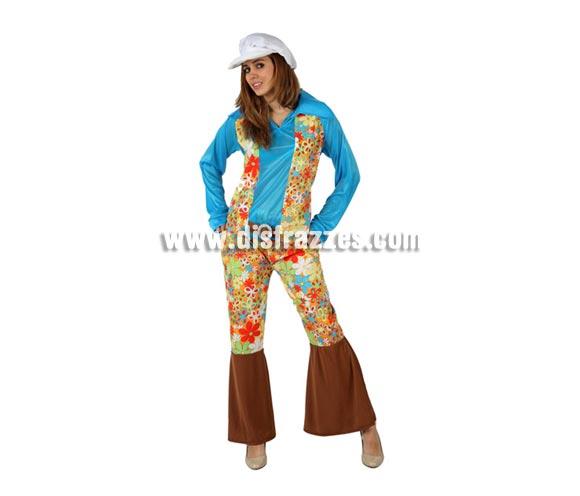 Disfraz barato de Hippie Floreada para mujer. Talla 2 ó talla standar M-L 38/42. Incluye pantalón, camisa y gorra.