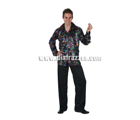 Disfraz de Chico de la Disco para hombre. Talla 2 ó talla Standar M-L 52/54. Incluye camisa y pantalón.