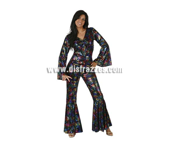 Disfraz de Chica de la Disco para mujer. Talla Standar M-L = 38/42. Incluye mono. Perfecto como compañera del Rey de la Disco.