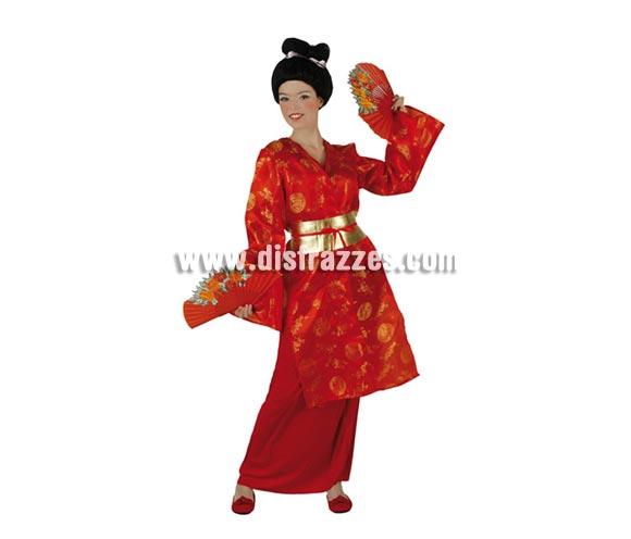 Disfraz de Japonesa para mujer. Talla 3 ó talla XL 44/48. Incluye kimono, falda y cinturón. Peluca y abanicos NO incluidos, podrás encontrar en nuestra sección de Complementos. Disfraz de Dama Oriental para mujer.