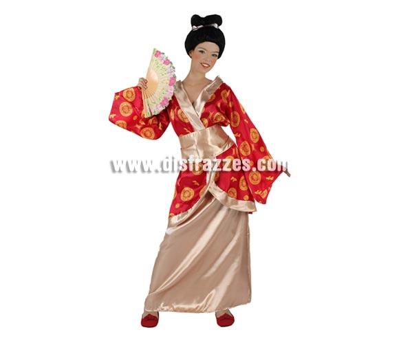 Disfraz de Japonesa o Gheisa para mujer. Talla 3 ó talla XL 44/48. Incluye kimono, falda y cinturón. Peluca y abanico NO incluidos, podrás encontrar en nuestra sección de Complementos.