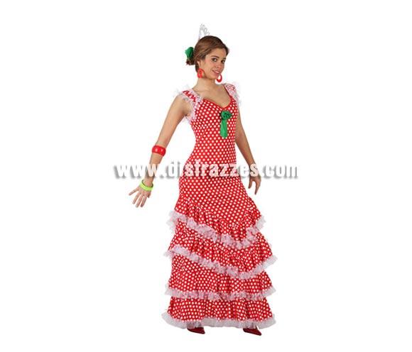 Disfraz de Sevillana rojo con lunar blanco para mujer. Talla 2 ó talla Standar M-L 38/42. Incluye vestido. Complementos NO incluidos. Disfraz de Sevillana, Flamenca o Gitana de mujer perfecto para la Feria de Abril.