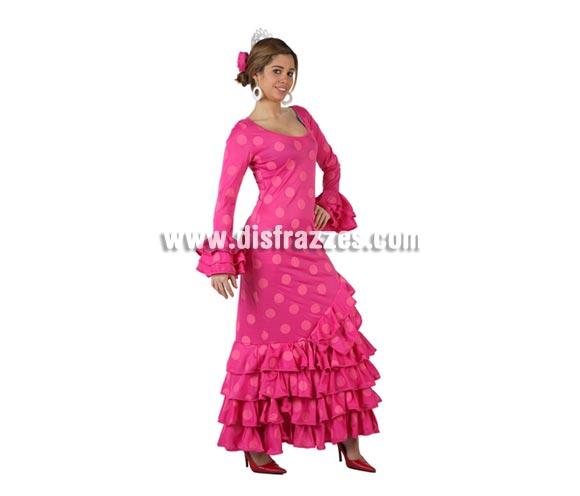 Disfraz de Faralae rosa con lunares rosas para mujer. Talla 2 ó talla standar M-L = 38/42. Incluye vestido y tocado. Éste es un bonito traje de Andaluza o Sevillana de mujer.