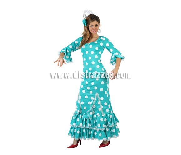Disfraz de Faralae azul con lunares blancos para mujer. Talla 2 ó talla standar M-L = 38/42. Incluye vestido y tocado. Éste es un bonito traje de Andaluza o Sevillana de mujer.