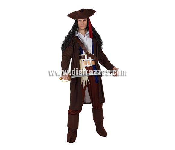 Disfraz de Pirata del Caribe para hombre. Talla 3 ó talla XL = 54/58. Incluye sombrero, camisa, chaqueta, pantalón, cinturón y cubrebotas. Espada y peluca NO incluidos, podrás encontrarlos en nuestra sección de Complementos.