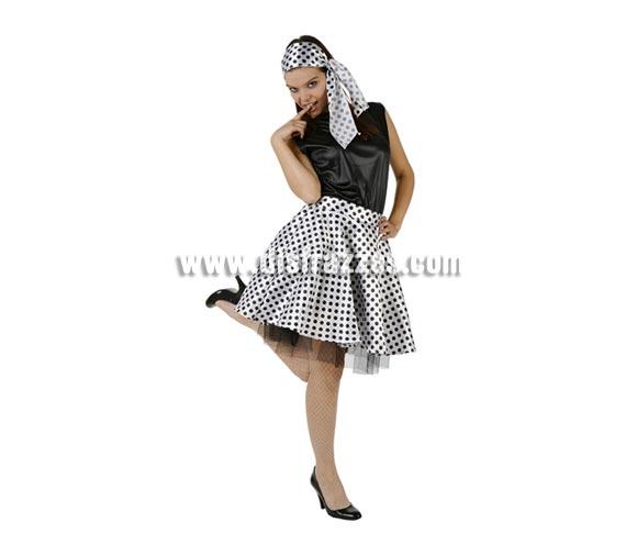 Disfraz de Chica de los años 60 para mujer blanco y negro. Talla 3 ó talla XL 44/48. Incluye disfraz completo sin medias ni zapatos.