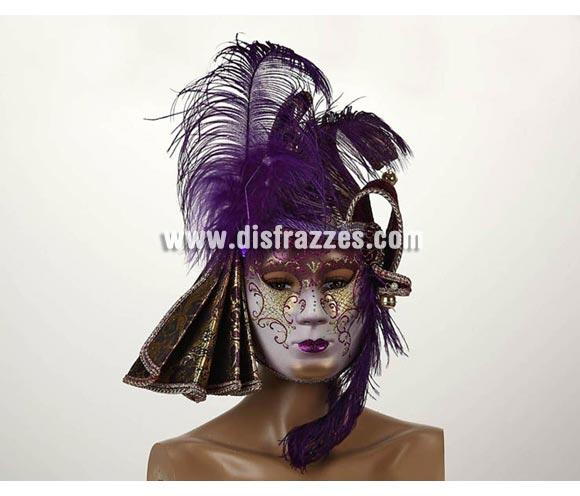 Máscara Veneciana de color Púrpura con plumas y cascabeles 23x16 cm. Talla Universal.
