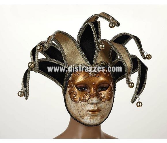 Máscara Veneciana Arlequín Dorada con Cascabeles de 23x16 cm. Talla Universal.