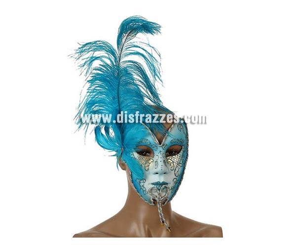 Máscara Veneciana Turquesa de 19x15 cm con plumas turquesas. Talla Universal.
