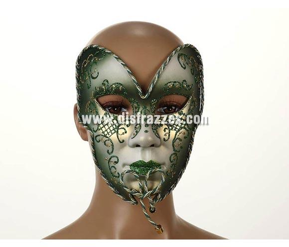 Máscara Veneciana Verde y Dorada de 15x20 cm. Talla universal.