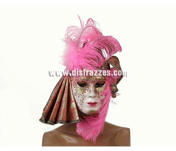 Máscara Veneciana de color Rosa con plumas y cascabeles 23x16 cm. Talla Universal.