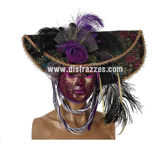 Máscara Veneciana Púrpura con Sombrero y Plumas. Talla Universal.
