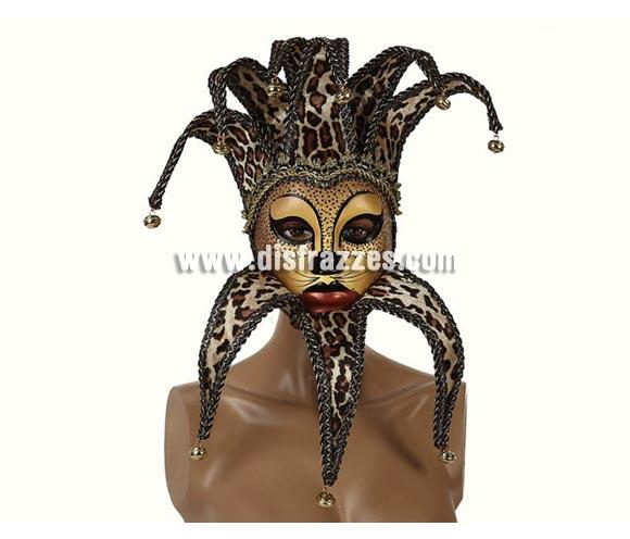 Máscara Veneciana Animal de Leopardo con cascabeles. Talla Universal.