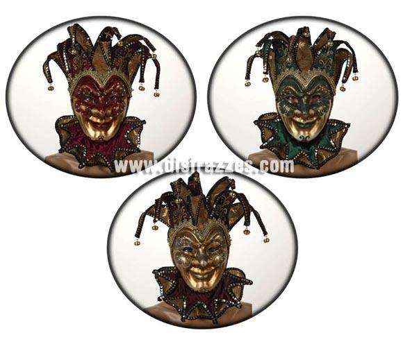 Máscara Veneciana Arlequín Oro de 24,5x17 cm. Talla Universal. Tres modelos surtidos, precio por unidad, se venden por separado.