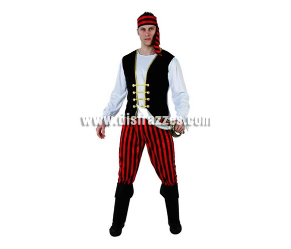 Disfraz de Pirata rayas para hombre. Talla 2 ó talla Standar M-L 52/54. Incluye pañuelo, camisa con chaleco, pantalón y cubrebotas.