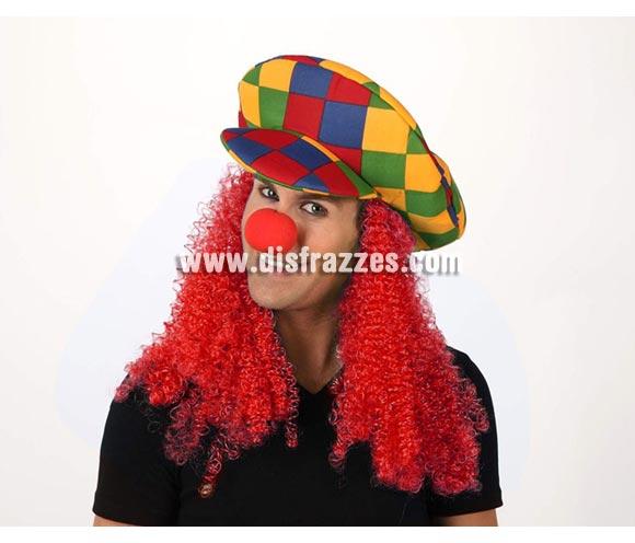 Sombrero o Gorra de Payaso cuadros con pelo rojo.