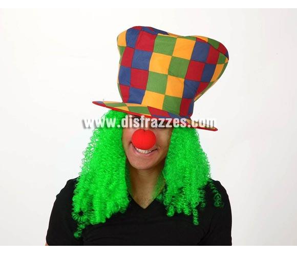 Sombrero de copa Payaso con pelo verde.