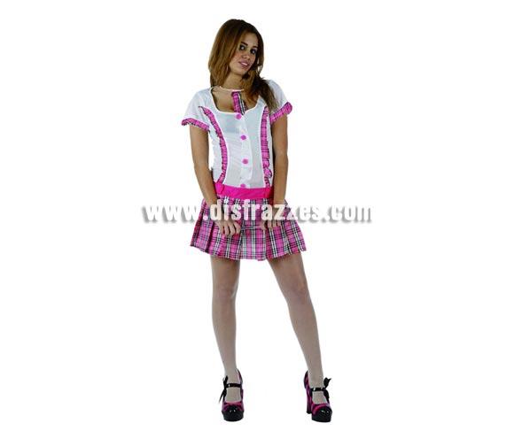 Disfraz barato de Colegiala Sexy rosa para mujer. Talla 2 ó talla standar M-L = 38/42. Incluye vestido y corbata.