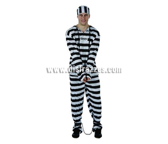 Disfraz barato de Preso para hombre. Talla 2 ó talla standar M-L 52/54. Incluye camisa, pantalón y gorro.