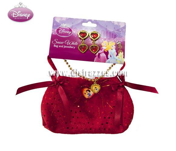 Bolso con joyas de Blancanieves para niñas. Contiene pendientes, collar y bolso de Blancanieves. Perfecto como regalo.