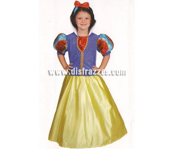 Disfraz de Bella Nieves para niñas (varias tallas). Incluye disfraz y diadema con lazo. Alta Calidad, fabricado en España.