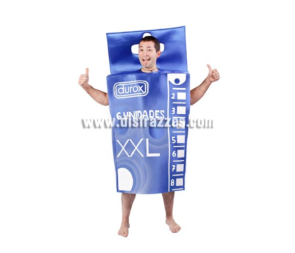 Disfraz de Caja de Preservativos o Condones para adultos. Talla Universal adultos. Incluye disfraz completo.