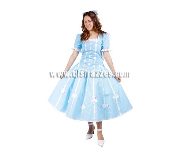 Disfraz de Alicia para mujer. Talla Universal de mujer. Incluye vestido de Alicia en el País de las Maravillas o también puede ser el disfraz de Dorothy la del Mago de Oz.