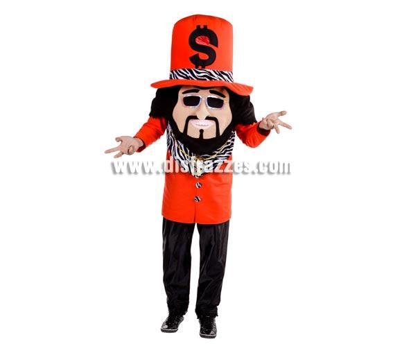 Disfraz de Dollar Man para adultos. Talla Universal de adultos. Incluye disfraz completo. Con éste disfraz llevas la cara tapada, se ve por una rejilla que casi no se aprecia en el símbolo del  Dollar del sombrero.
