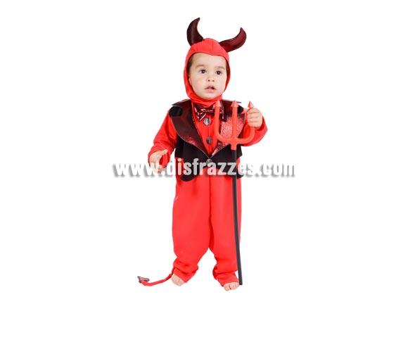 Disfraz barato de Demonio o Diablillo bebé para Halloween. Talla de 18 meses. Alta calidad. Hecho en España. Incluye cuernos, camisa, cuello y pantalón. Tridente NO incluido, podrás verlo en la sección de Complementos. Éste disfraz de Halloween es ideal para celebrar la Fiesta de la Noche de las Brujas en Pubs, Discotecas, Casas particulares,  Restaurantes o Colegios y ayudar a crear un ambiente terrorífico y tenebroso indispensable para la Noche de Halloween la cual se celebra la víspera de Todos los Santos. ¡¡Compra tu disfraz para Halloween en nuestra tienda de disfraces, será divertido!!