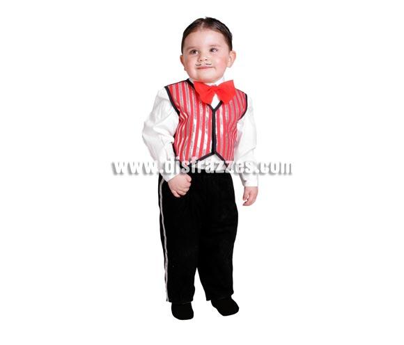 Disfraz barato de Cabaretero bebé para Carnaval. Talla de 18 meses. Alta calidad. Hecho en España. Incluye pajarita, chaleco y pantalón. Camisa NO incluida.