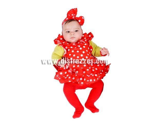 Disfraz - Babero de Sevillana para bebés 6 meses. Incluye babero y lazo. MADE IN SPAIN.