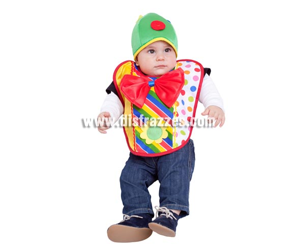 Disfraz - Babero de Payaso para bebés de 6 meses. MADE IN SPAIN.