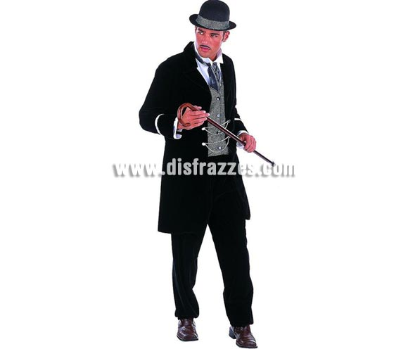 Disfraz de Charlestón chico Extralujo. Alta calidad en telas y acabados. Fabricado en España. Disponible en varias tallas. Incluye pantalón, pañuelo, sombrero, chaqueta y camisa con cuello. Bastón NO incluido.