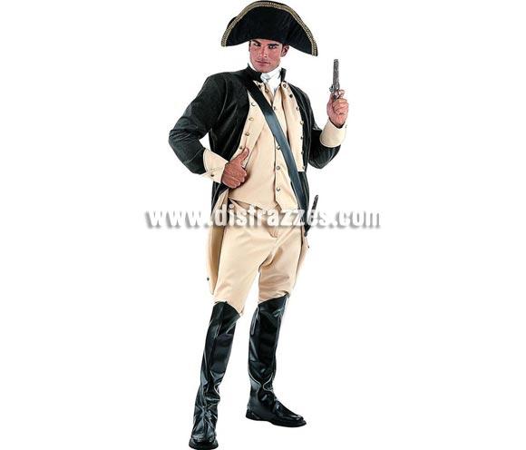 Disfraz de George Washington Extralujo. Alta calidad en telas y acabados. Fabricado en España. Disponible en varias tallas. Incluye casaca/chaleco, pantalón, pañuelo, cubrebotas y sombrero. Pistola NO incluida, podrás verla en la sección Complementos.