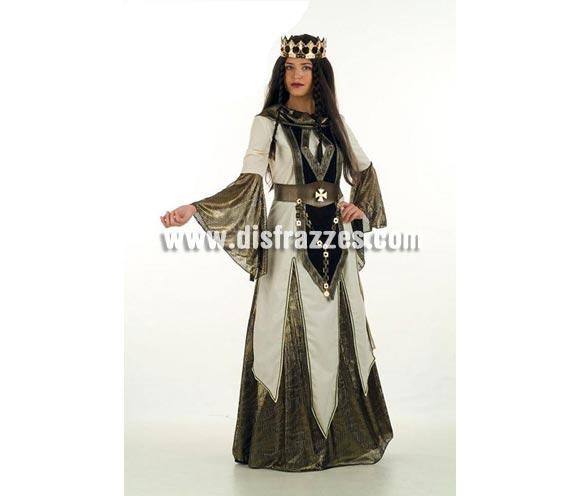 Disfraz de Reina de las Cruzadas Medieval Extralujo. Alta calidad en telas y acabados. Fabricado en España. Disponible en varias tallas. Incluye falda, cinturón y casaca. Corona NO incluida, podrás verla en la sección Complementos.