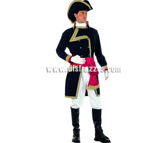 Disfraz de Almirante Nelson Extralujo adulto. Alta calidad en telas y acabados. Fabricado en España. Disponible en varias tallas. Incluye pantalón, cubrebotas, pañuelo, sombrero, chaqueta y fajín.