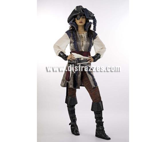 Disfraz de Pirata Corsaria Extralujo. Alta calidad en telas y acabados. Fabricado en España. Disponible en varias tallas. Incluye camisa, pantalón, cinturón, cubrebotas, sombrero, casaca, fajín y parche.