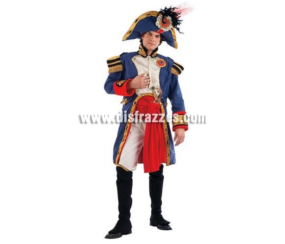 Disfraz de Napoleón Extralujo. Alta calidad en telas y acabados. Fabricado en España. Disponible en varias tallas. Incluye pantalón, cubrebotas, sombrero, casaca y fajín.